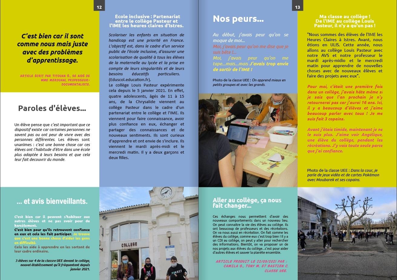Les échos liés - 24 - magazine du Collège Pasteur Istres - Mai 2021