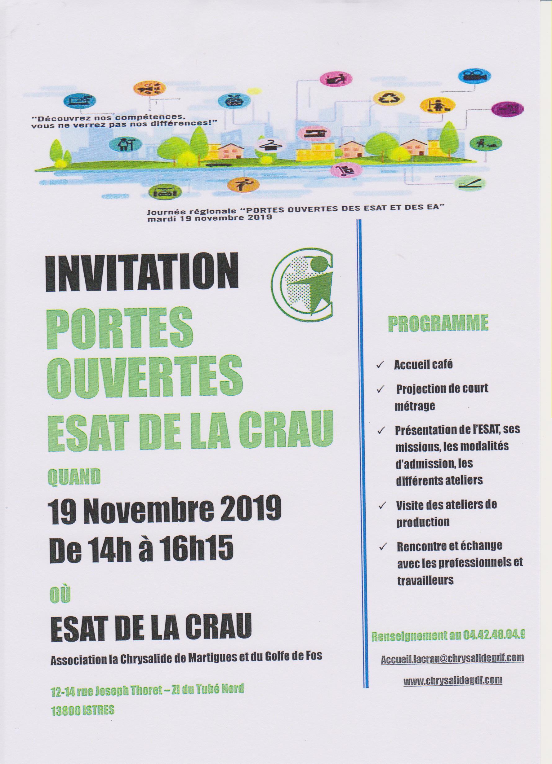 19 novembre 2019 : Portes ouvertes des ESAT de la Chrysalide